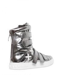 Balmain | Multistrap Metallic Leather Sneakers for Men | Lyst