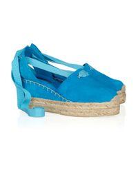 Ralph Lauren Collection   Blue Uma Suede and Raffia Espadrilles   Lyst