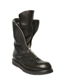 Rick Owens | Black Front Zipped Smooth Calfskin Boots for Men | Lyst