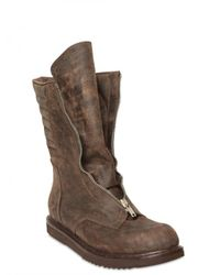 Rick Owens - Brown Front Zip Mohawk Leather Boots for Men - Lyst