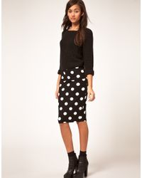 River Island - Black Polka Dot Pencil Skirt - Lyst