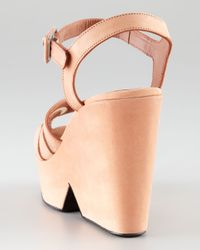 Robert Clergerie | Natural Dinato Blush Suede Wedge Sandal | Lyst