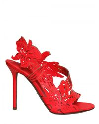 Sergio Rossi - Red 105mm Fluro Leather Flower Sandals - Lyst