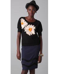 Sonia Rykiel - Black Floral Knit Pullover - Lyst