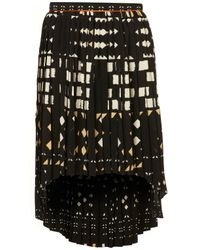 TOPSHOP - Black Aztec Dip Hem Skirt - Lyst