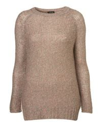 TOPSHOP | Brown Knitted Pastel Tweedy Jumper | Lyst