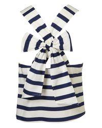 TOPSHOP | Blue Stripe Bow Back Vest | Lyst
