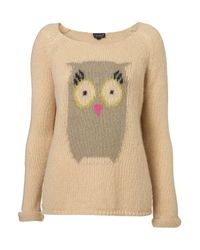 TOPSHOP | Natural Knitted Owl Motif Jumper | Lyst