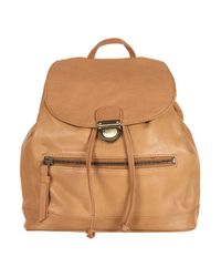 TOPSHOP | Brown Leather Backpack | Lyst