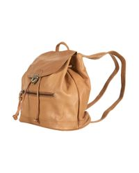 TOPSHOP - Brown Leather Backpack - Lyst