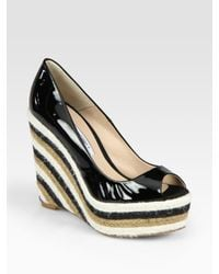 Brian Atwood | Black Alysha Patent Leather Espadrille Wedge Pumps | Lyst
