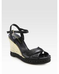 Cole Haan | Black Air Camila Leather Espadrille Wedge Sandals | Lyst