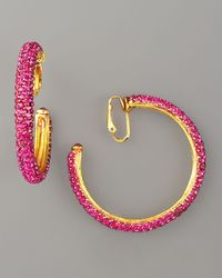 Jose & Maria Barrera - Pink Crystal Hoop Clip Earrings - Lyst