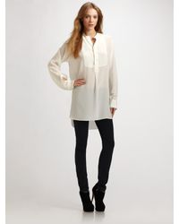 JOSEPH | White Oversized semi-sheer silk blouse | Lyst