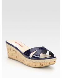Prada | Blue Patent Leather Cork Wedge Slides | Lyst