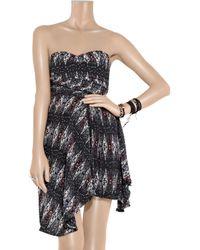 Étoile Isabel Marant - Black Anouk Strapless Printed Silk Dress - Lyst