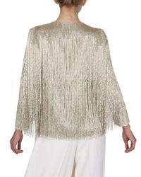 Ferragamo | Metallic Beaded Fringe Silk Georgette Jacket | Lyst