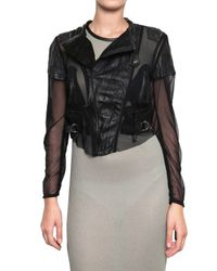 Horace - Black Twisted Mesh Cropped Biker Leather Jacket - Lyst