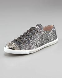 Miu Miu   Metallic Glitter Sneaker   Lyst