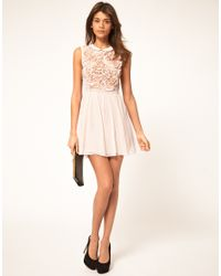 ASOS Collection - Pink Asos Mini Dress with Rose Applique - Lyst