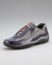 Prada | Patent Leather Sneaker, Purple | Lyst