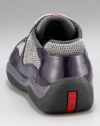 Prada - Gray Patent Leather Sneaker, Purple - Lyst