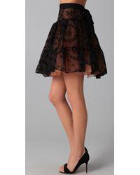 RED Valentino - Black Flocked Rosette Skirt - Lyst