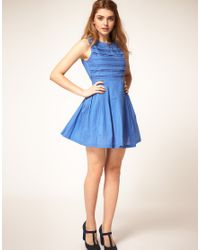 ASOS Collection | Blue Summer Dress with Pleated Lace Bodice | Lyst