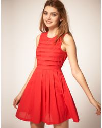 ASOS Collection | Red Summer Dress with Pleated Lace Bodice | Lyst