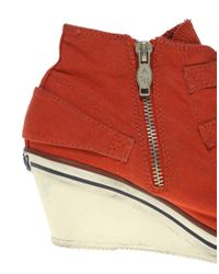 Ash - Red Genial Bis Buckle Low Wedge Trainers - Lyst