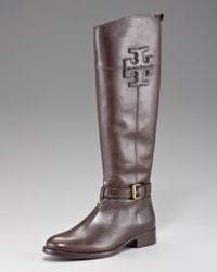 Tory Burch | Black Blaire Leather Riding Boot | Lyst