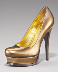 Saint Laurent | Metallic Platform Pump | Lyst