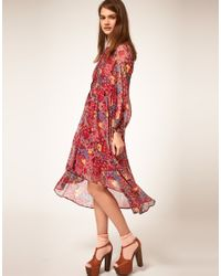 ASOS Collection | Red Asos Midi Shirt Dress in Floral Print | Lyst
