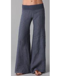 Enza Costa - Blue Linen Wide Leg Pants - Lyst