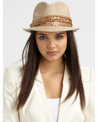 Eugenia Kim | Natural Craig Sequin Accented Straw Fedora | Lyst