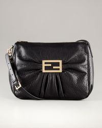 Fendi - Large Black Leather Messenger Bag - Lyst