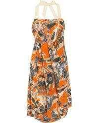McQ | Orange Asymmetric Printed Silk Dress | Lyst