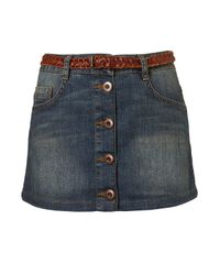 TOPSHOP | Blue Dirty Denim A-line Skirt | Lyst