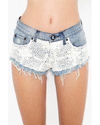 Nasty Gal - Blue Crochet Bonita Cutoff Shorts - Lyst