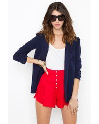 Nasty Gal - Red Button Up Tap Shorts - Lyst