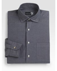 Saks Fifth Avenue - Gray Chambray Dress Shirt for Men - Lyst