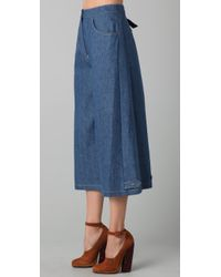 Sonia Rykiel - Blue Cropped Wide Leg Denim Pants - Lyst