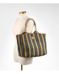 Tory Burch - Blue Mexican Stripe Channing Tote - Lyst