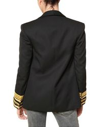 Balmain - Black Naval Wool Cloth Jacket - Lyst