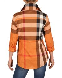 Burberry Brit | Orange Giant Exploded Check Cotton Voile Shirt | Lyst