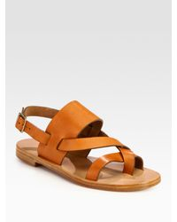 Chloé | Brown Strappy Leather Slingback Toe Ring Sandals | Lyst