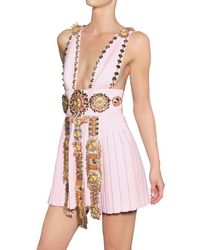 Fausto Puglisi - Pink Embroidered Wool Crepe Dress - Lyst
