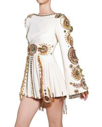 Fausto Puglisi - White Embroiderd Silk Crepe Dress - Lyst