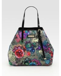 Jimmy Choo | Multicolor Sasha Printed-canvas & Patent Leather Tote Bag | Lyst