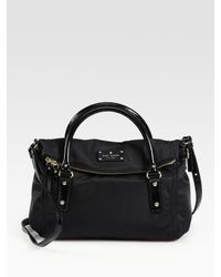 kate spade new york | Black Small Leslie Foldover Nylon & Patent Leather Tote | Lyst